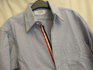 NWOT Thom Browne Blue Oxford Cloth Button Down Grosgrain Placket MSRP $425