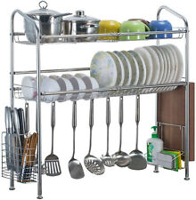 Over The Sink Dish Drying Shelf Stainless Steel Cutlery Holder Kitchen Rack 37""