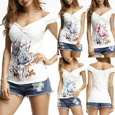 Summer Womens Floral Tops Blouse V Neck Ladies Short Sleeve T Shirt Size 6-14
