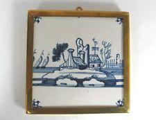 Alte Kachel, Fliese, Messingrahmen, Holland. Aus einer Sammlung