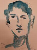JOSE TRUJILLO ORIGINAL Watercolor Painting Portrait BLUE Abstract FINE ART 9X12