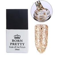 10ml Nail Glitter UV Gel Polish Varnish Soak Off BORN PRETTY Champagne Gold