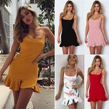 Sexy Womens Summer Straps Ruffled Bodycon Dress Ladies Party Short Mini Dress AU