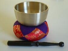 "Japanese Meditation Buddhist Butsudan Handmade 3.5"" Brass Bowls Singing Bell Set"
