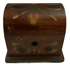 Scandinavian American Wood Tole Ware Small Domed Lock Box Signed On Bottom