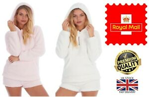 New Women's Forever Dreaming Warm Cosy Sherpa Borg Lounge Wear Hooded Top Hoodie