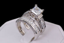 Sterling Silver 14k White Gold Princess Diamond Cut Engagement Wedding Ring Set