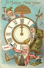 Embossed Postcard; Happy New Year Elves Gnomes Hammer on Clock Chime & Blow Horn