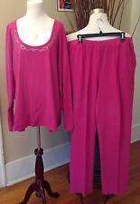 3X Liz & Me Women's Pant Set Fucshia 100% Cotton Shirt 3X Pants 1X Stretchy