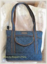 Longaberger Double Handle Zippered Denim Quilted Faux Leather Trim Bag New Tag