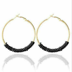 Fashion Handmade Beads Boho Hoop Round Earrings Ear Stud For Women Jewelry