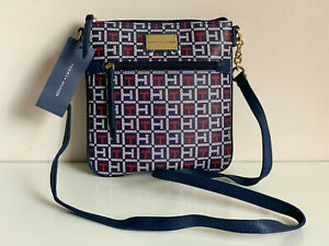 NEW! TOMMY HILFIGER RED NAVY BLUE PVC MESSENGER CROSSBODY SLING BAG PURSE $69