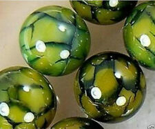 8mm Yellow Dragon Veins Agate Round Gemstone Loose Beads 15