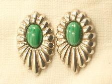 Estate Vintage Sterling Silver Kabana Malachite Earrings Pretty Design
