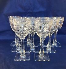T G Hawkes & Co. WOODMERE 7240 Cut Glass Wine Glasses NY - Signed  ~ Set of 9