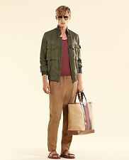 NEW Authentic Gucci Mens Silk Bomber Military Jacket Olive Green 333620 3356