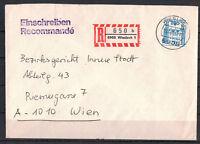 BRD, Einschreiben MiNr. 1142 EF TSt Wiesloch 1988