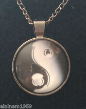 "Ying & Yang Cabachon glass dome Necklace Pendant.20"" chain"
