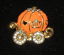 Pumpkin Carriage Pin Gold Tone Fairy Tale Crystal Accents Heart Window New