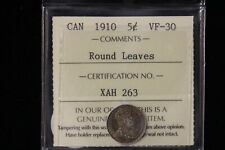 """1910 Canada. 5 Cents. """"Round Leaves"""". ICCS Graded VF-30 (XAH263)"""