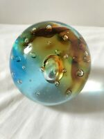 Beautiful Blown Glass Ball Two Toned Blue and Brown with Bubbles
