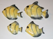 Fish,4 beautiful great shape yellow and charcoal ceramic fishes Ceramicraft,Ca.