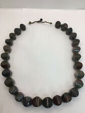 More details for antique large stunning unusual chinese bloodstone hexagonal gemstone necklace
