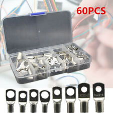 60pcs Car Electrical Wire Copper Lug Battery Cable Ring Connector Terminal w/Box