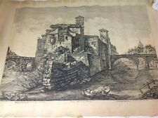 Antique etching by Luigi Rossini Rome Italy 19th 1820 painting (m813)