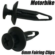 10x Motorcycle 6mm Clips Fairing Plastic Screw Rivets Panel Trim For Honda