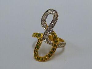 Ladies Stunning 22ct Gold Very Fancy Peridot & CZ Ring - Size O - Hallmarked