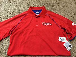 Majestic Red Philadelphia Phillies Cool Base Polo Men's Medium MSRP $50 NWT D12