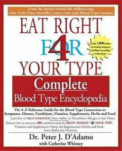 Eat Right for Your Type Complete Blood Type Encycl... by Peter D'Adamo Paperback