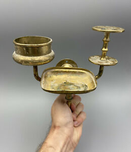 Antique Solid Brass Toothbrush, Soap Dish and Cup Holder 1900's Vintage Bathroom