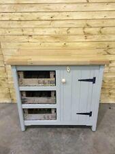 Pine Freestanding Handmade Cupboard Kitchen Centre Island Butchers Block Oak Top