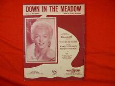 "Vintage SHEET MUSIC ""Down In The Meadow"" MARILYN MONROE Australian Edition 1954"