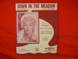 "Vintage SHEET MUSIC ""Down In The Meadow"" MARILYN MONROE Australian Edition 1954"