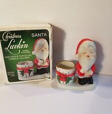 Vintage 1978 Jasco Porcelain Kissing Santa Claus Christmas Luvkin Candle Holder