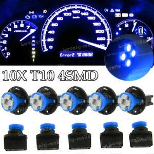 10Pcs Blue T10 168 Instrument Panel Gauge LED Light Bulb +194 Twist Lock Socket