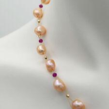 CHARMANT ● Rosa Zucht Perlen synth. Rubin ●  Hals Kette 43cm ygf 14k Gold 585