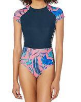 Hurley Women's Swimwear Pink Blue Size Medium M Floral Printed Zipped $42 #030
