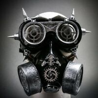 Party Steampunk Masquerade Silver Gas Mask Respirator Goggles Glasses Halloween
