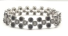 Sterling Silver 1.00 TCW Black - Clear Diamond Circles Elegant Tennis Bracelet