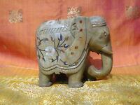 Éléphant Statue indienne en marbre Pierres Pietra Dura travaillée main Inde F5