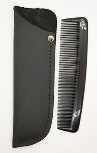 HAIR COMB & LEATHER CASE RUGGED DISTRESSED MATT BLACK LEATHER WITH BLACK COMB