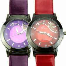 Women's Quartz Wrist Watch Analog Date Day Army Sport Purple Leather Luxury AU