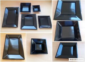 Black Square Disposable Plastic Plates Bowls Trays Party Event 5 10 20 50 100