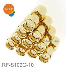 10-Pack RP-SMA Male to Male Gold Plated Coupler Gender Changer, RF-S102G-10