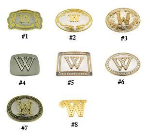 Initial Letter w Belt Buckle Alphabet w Monogram Western Cowboy Rodeo Style New