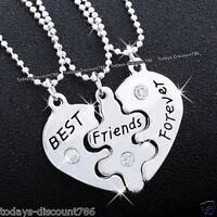 BLACK FRIDAY Xmas Gift For Her BEST Friends Forever Necklaces Heart Sister Women